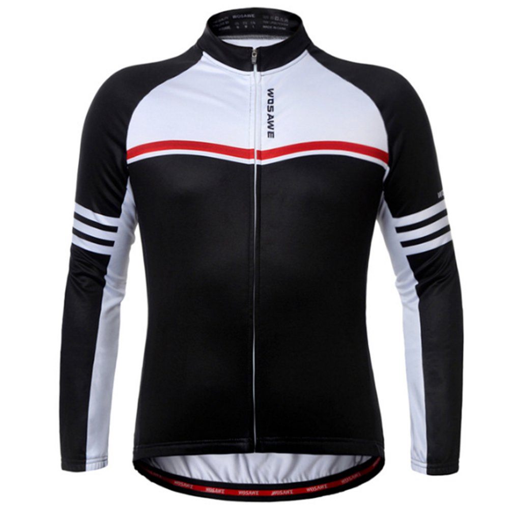 WOSAWE Elastic Fleece Warm Thermal Long Sleeve Jacket Bicycle Clothing Windproof Outdoor Sports Riding Racing Cycling Jacket Hot