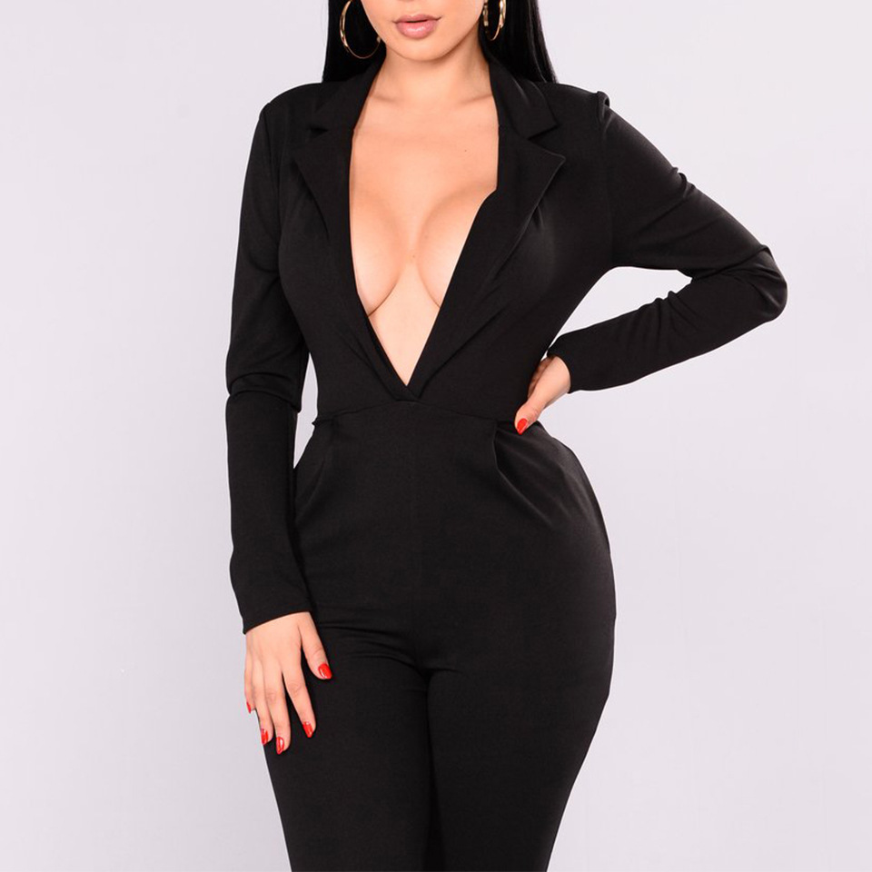 New fashion Women cotton Jumpsuit Fitness 2018 autumn winter Sexy Bodysuit deep V Neck Long Sleeve Slim Jumpsuit plus size