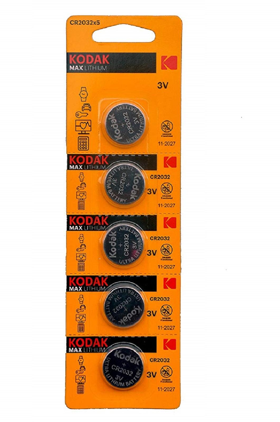 Pilas De Boton Kodak Bateria Original Litio CR2032 3V En Blister 5X Unidades