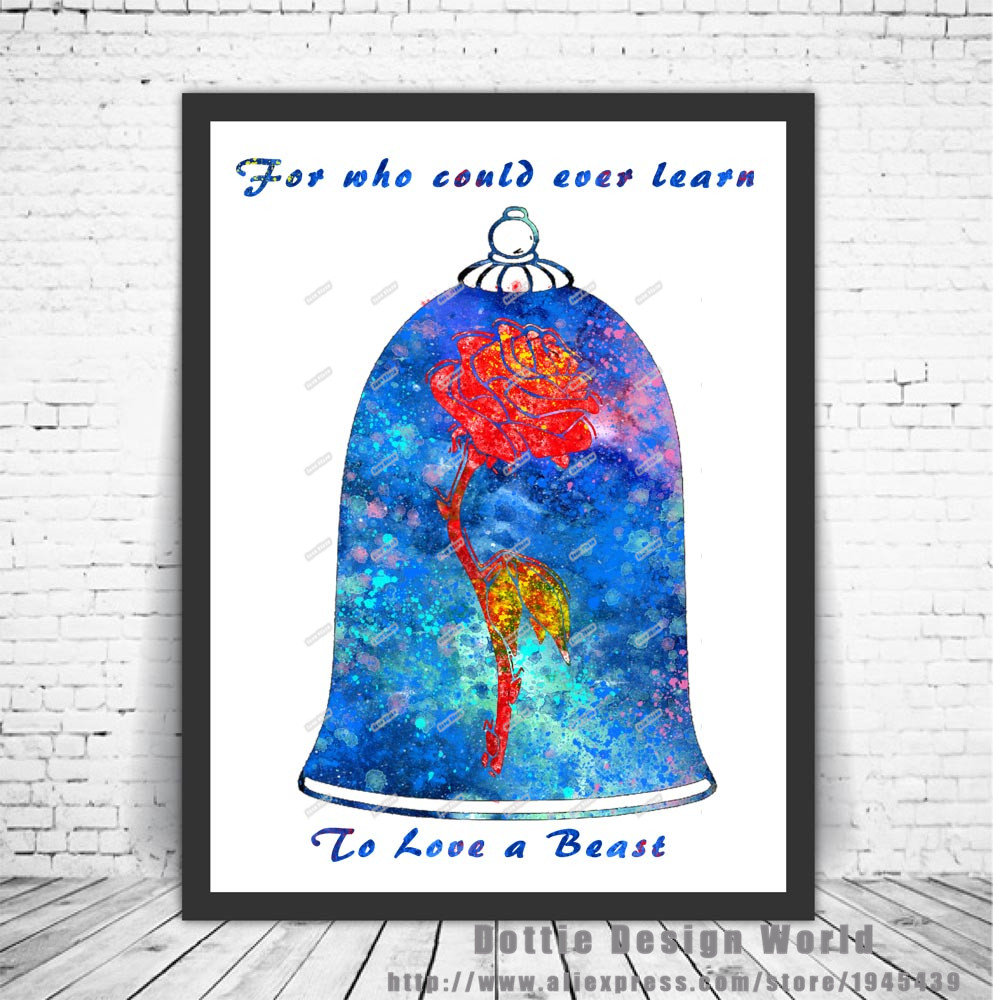 bedroom poster quote posters prints Beauty and the beast wallart print