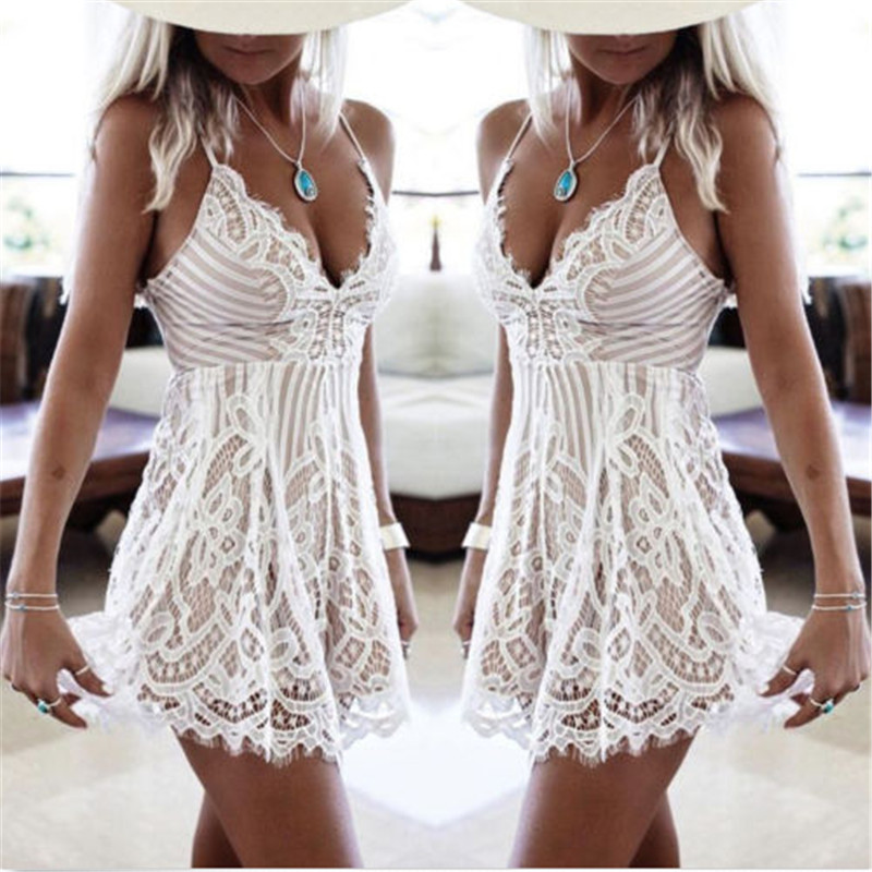2018 Fashion Summer Deep V White Lace Dress Women Sundress Sexy Hollow Out Beach Dress in Dresses from Women 39 s Clothing