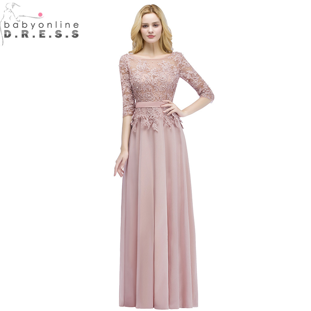 Robe De Soiree Longue Sexy Backless Dusty Rose Lace Half Sleeve Long Evening Dress  Chiffon Evening Gowns With Pearls Abendkleid