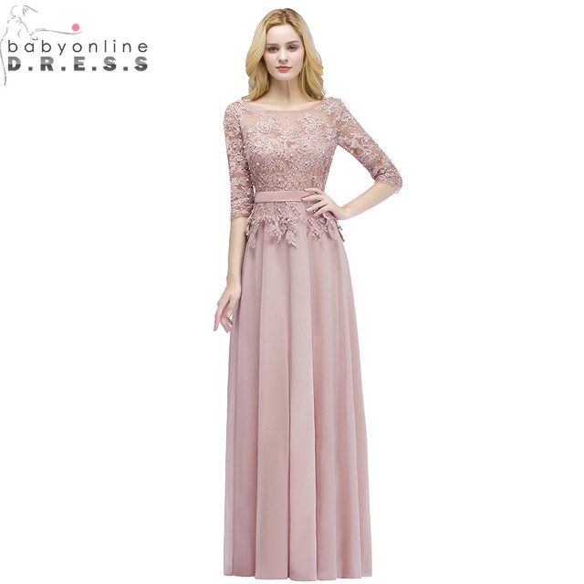 Robe de Soiree Longue Sexy Backless Pink Lace Half Sleeve Long Evening Dress  Chiffon Evening Gowns with Pearls Abendkleid fef3320e63d1
