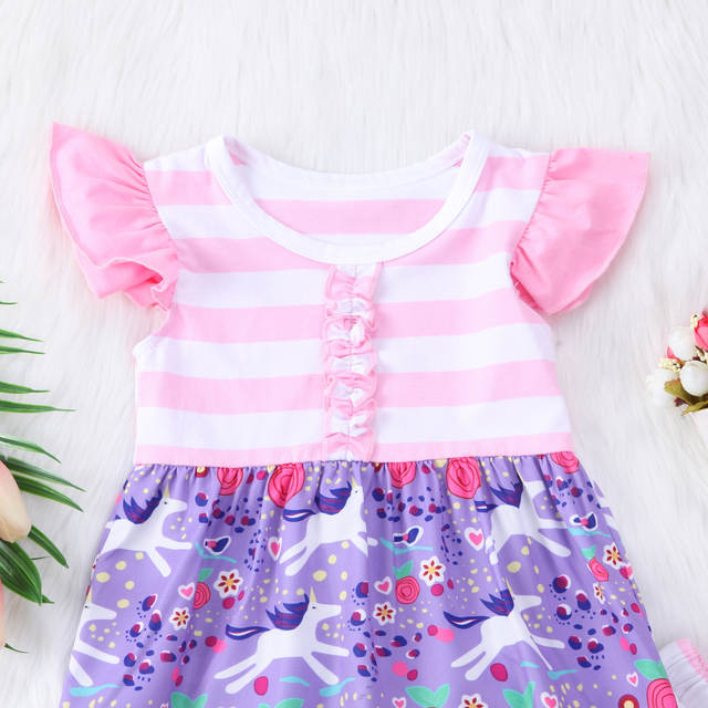 77b97dda47514 Toddler Kids Baby Girl Unicorn Outfits Clothes T-shirt Tops Dress Ruffled  Pants 2PCS Set