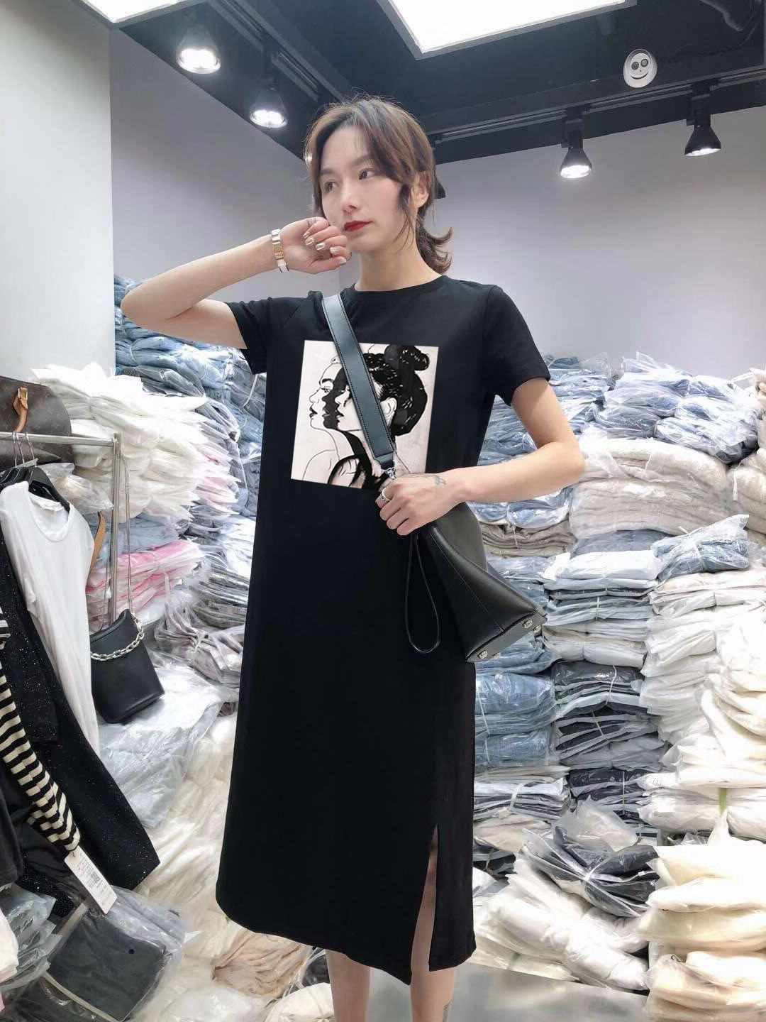 Summer Cartoon print women dress short sleeve O-Neck Medium long Mickey Mouse dresses Casual clothes 19 vestidos 13
