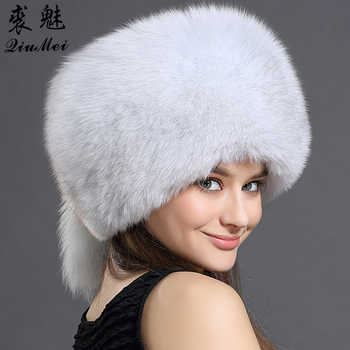 Real Fox Fur Hat For Women Luxury Warm Winter Fox Fur Cap Genuine Raccoon Fur Solid New Thick Female Cap Bomber Hats For Girls - DISCOUNT ITEM  40 OFF Apparel Accessories