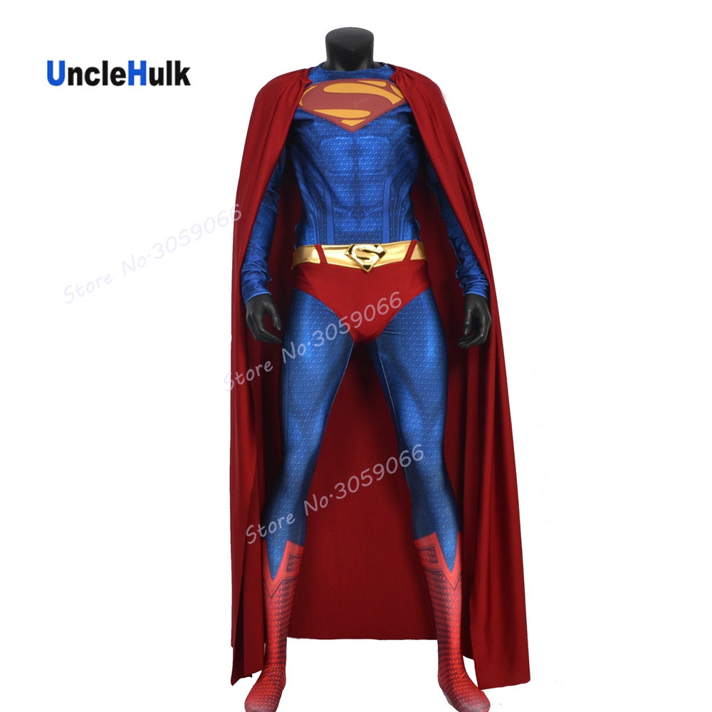 High Quality Man of Steel Superman Printed Spandex Lycra with 3D Muscle Shading Cosplay Costume (with Chest Logo)  | UncleHulk