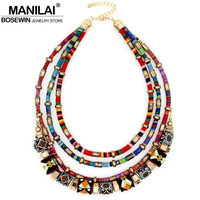Latest Women Multi Layers Statement Necklace Boho Style Cloth Wrap Chains Ball Handmade Collar Necklaces Maxi