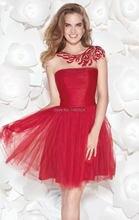Tarik Ediz 2014 Neue Mode Perlen Red Tüll Cocktailkleid Short Crystal Homecoming Prom Kleid Party Kleider