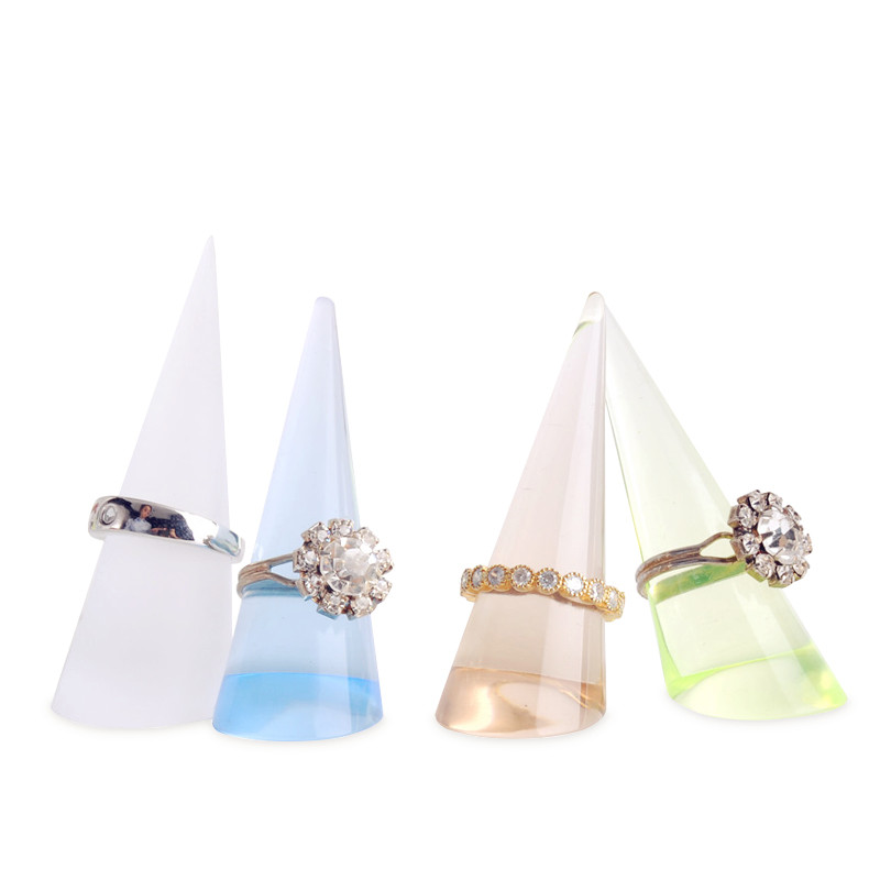 New Arylic Color Ring Display Holder Ring Rlue, Green, Champange, Frosted Ring Display Finger Point Jewelry Display Holder