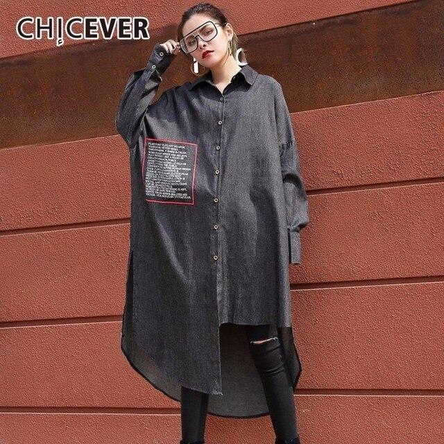 Chicever весной 2018 Асимметричный женское платье женский с длинным рукавом Письмо джинсовые Для женщин Платья для женщин большой Размеры модная одежда