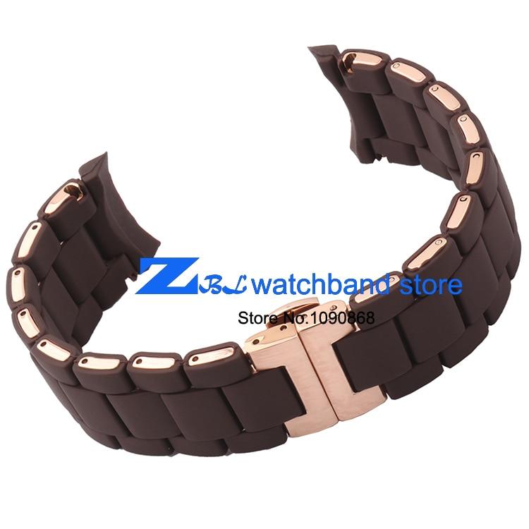 Kauçuk kordonlu Saat Çelik kahverengi silika jel adam 23mm kadın - Saat Aksesuarları - Fotoğraf 6