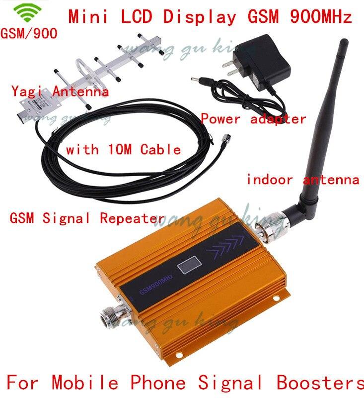 Affichage À CRISTAUX LIQUIDES GSM 900 MHz répéteur de signal cellulaire GSM 900 amplificateur de signal avec antenne intérieure + antenne yagi + Câble gsm amplificateur de signal