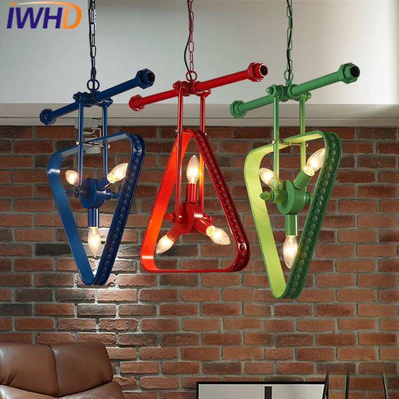IWHD American Style Loft Industrial Vintage Pendant Lights Retro Iron triangle LED Hanging Lamp Home Lighting Fixtures Hanglamp iwhd black iron hanging lights nordic style loft retro vintage pendant lamp kitchen luminaire suspendu home lighting fixtures