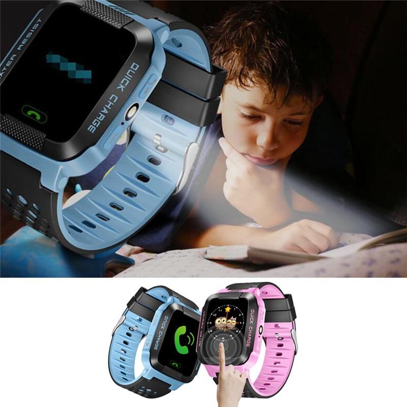 """ילדים חכם שעונים 1.44 """"HD מסך מגע לתצוגה עבור IOS אנדרואיד מערכת הילד צפה עם פנס מפטפטים בייבי"""