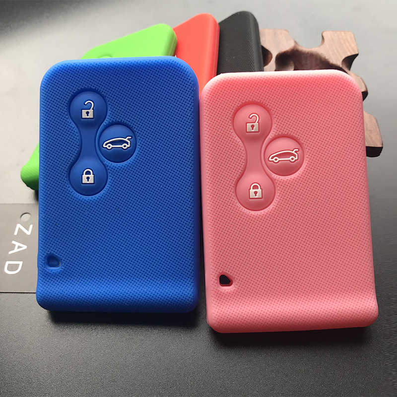 ZAD silicone rubber car key Card Case cover for Renault Clio Megane Grand Scenic 3 button Car key cover case Shell(China)
