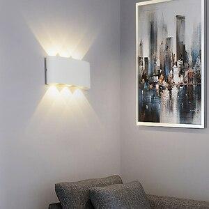 Image 1 - 白黒壁ランプアルミランプシェード照明器具ベッドサイド、リビングルームライトAC85 260Vウォームまたはクールホワイト照明