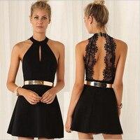 Black semi formal dresses short 2019 A Line Black Halter Lace Dramatic Sexy Women dress homecoming skirt