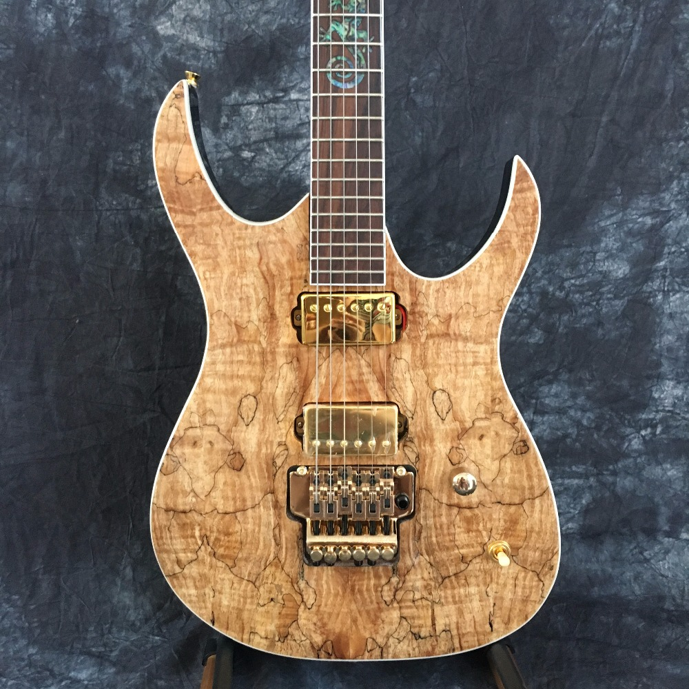 Musical instrument Chinese human natural wood grain finish Custom Shop Electric guitar with Floyd Rose tremolo high quality blue finish mahogany body lp custom electric guitar with china floyd rose tremolo for sale