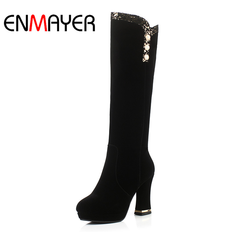 ENMAYER Women Winter Boots New Fashion Over the Knee Hoof Heels Boots High Quality Cacual Dating Shoes for Women Platform Boots enmayer women boots shoes new pointed toe fashion knee high full grain leather winter long boots for women platform motorcycle
