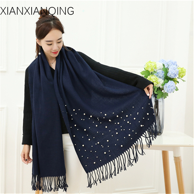a762ae1ee0aaa XIANXIANQING Winter Women's Warm Scarf Lady's Solid Fake Cashmere Scarves  Pearls Cape And Shawl Women Tassel Fashion Poncho WJ18