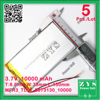 SafetyPacking(Level4) 5pcs rechargeable lipo battery cell 3.7 V 8873130 10000 mah tablet battery brand tablet gm lithium polymer