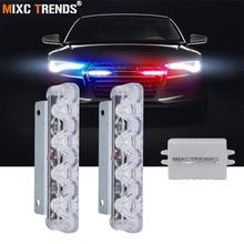 цена на 2Pcs 4 LED Strobe Police Light 12V 8W Car Truck Motorcycle Flashing Emergency Warning Rear Tail Brake Stop Led Lights Lamp