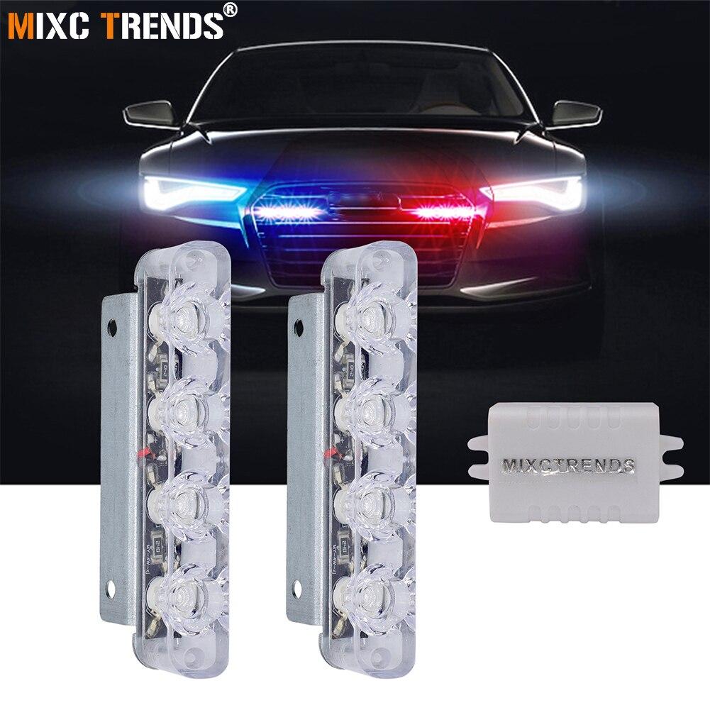 2Pcs 4 LED Strobe Police Light 12V 8W Car Truck Motorcycle Flashing Emergency Warning Rear Tail Brake Stop Led Lights Lamp