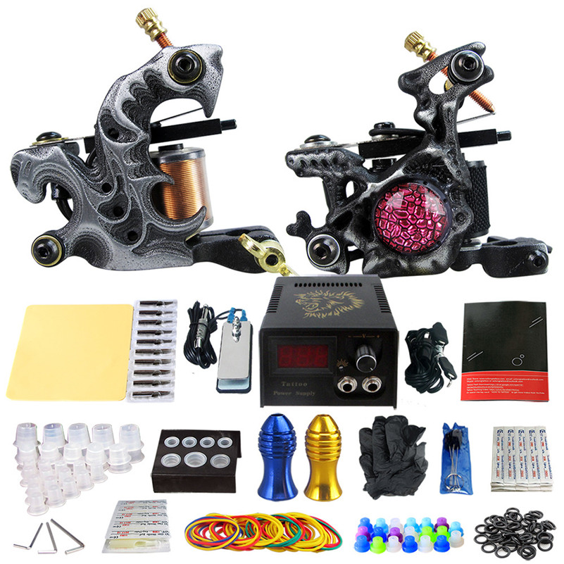 Tattoo Supplies 2 Coil Tattoo Machine Tattoo Guns Liner Shader Power Supply Needles Tips Grips Tattoo Artist europe god of darkness robert recommend gp self lock grips gp3 professional tattoo artist grip