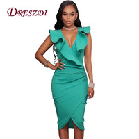 2017 Sexy Deep V Neck Women Bodycon Ruffles Dress Summer Elegant Ladies Pencil Dress Midi Party