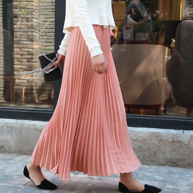 Летние Для женщин длинные плиссированные юбки корейский стиль сплошной плюс Размеры Высокая талия эластичные женские розовые для девочек