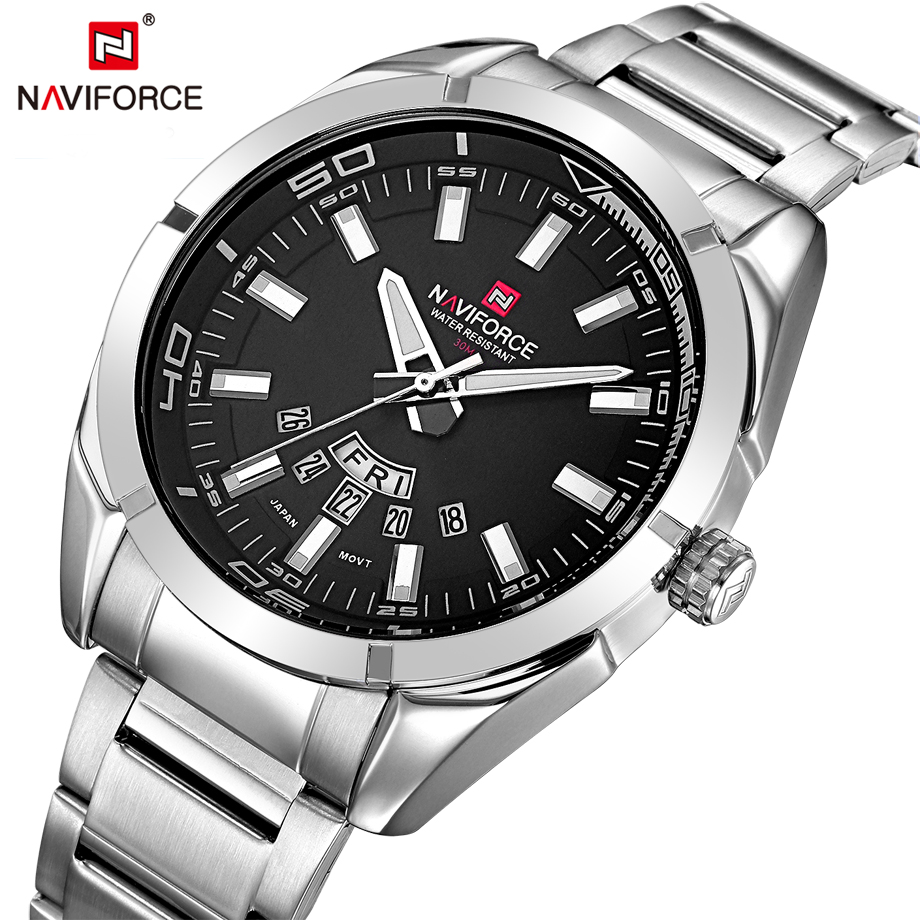 NAVIFORCE Brand Full Steel Sports Quartz Watches Fashion Casual Analog Clock Men Business Watch Male Clock Relogio Masculino