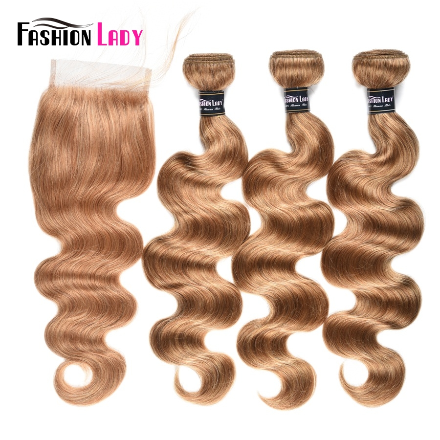 Fashion Lady Pre-Colored Brazilian Hair With Closure 3/4 Bundles Body Wave Color 27# Blonde Bundles With Closure Non-Remy