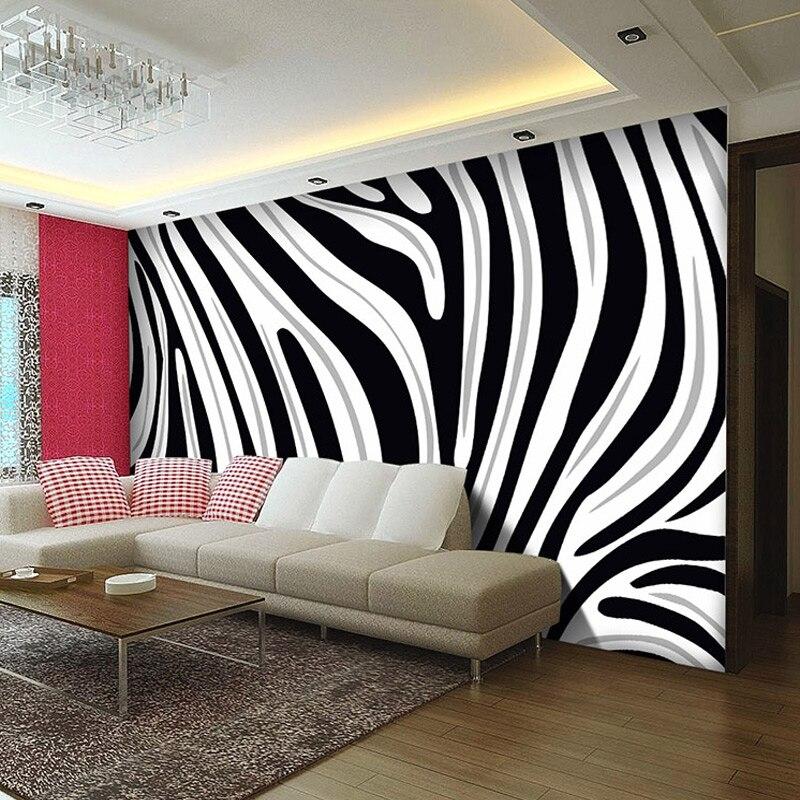 Custom Mural Wallpaper 3D Non-woven Ptinted Wallpaper Black And White Zebra Stripes Living Room Sofa TV Backdrop Wall Covering