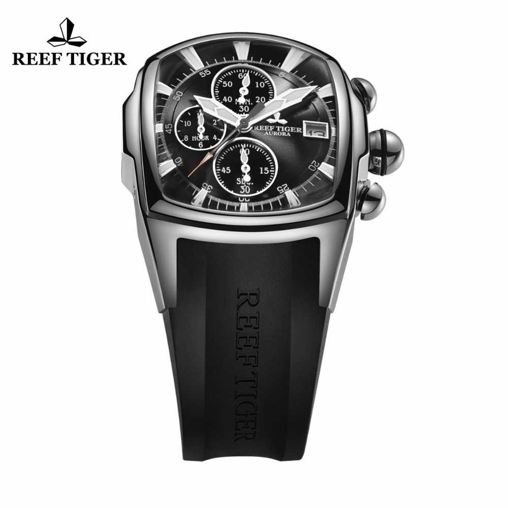 Reef Tiger/RT Top Brand Mens Luxury Sport Watches Chronograph Waterproof Steel Watches Rubber Strap Relogio Masculino RGA3069-T 機械 式 腕時計 スケルトン