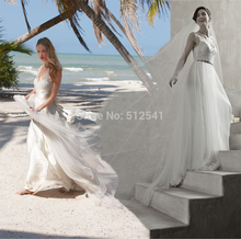 Charming Beach Wedding Dresses Sheath Sweetheart Sheer Applique Flowers Sash Organza Bridal Gown yk1A192