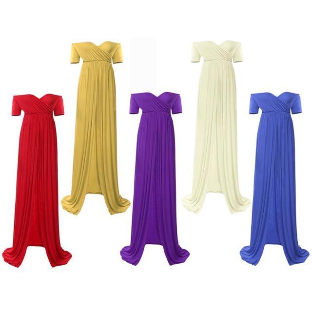 Pregnant Woman Dress Photo Clothes Elastic Cotton Length Boat Neck  Pregnant  Gown Pregnancy Clothes Photo Shoot Dress Gravidas