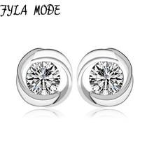 Fyla Mode Fashion Jewelry Hearts and Arrows 8.50mm CZ Zircon Stud Earring 925 Sterling Silver Earring Fine Jewelry Women Gift