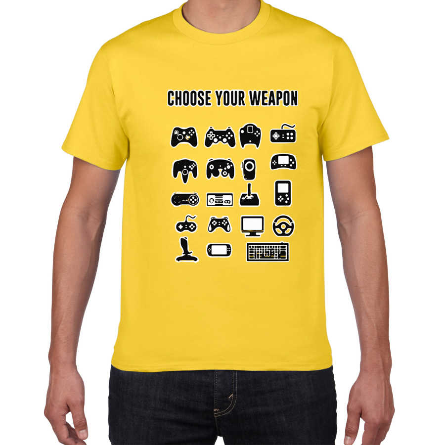 Kies Uw Wapen Gamer Nieuwigheid Video Games Sarcastische Mens Grappige T-shirt Game Fan Game Controller Streetwear Mannen Tshirt Mannen