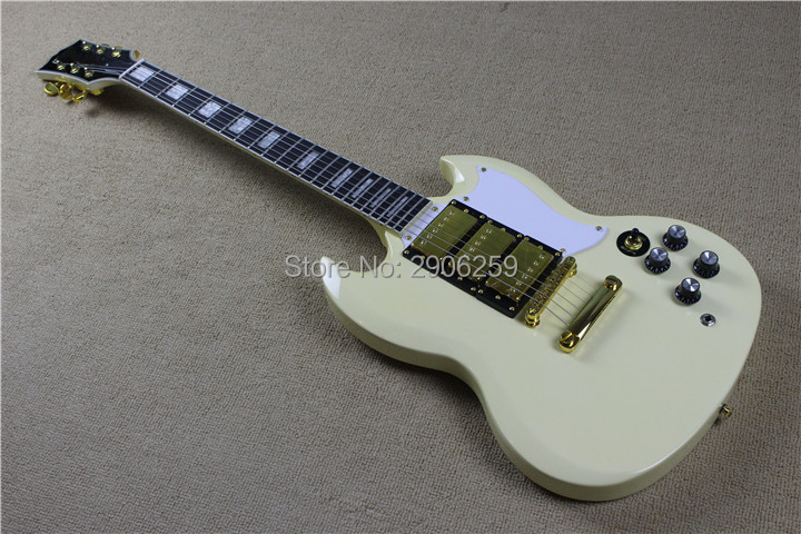 Hot sale sg custom electric guitar. cream yellow color,gold hardware,ebony fingerboard.high quality free shipping custom guitar цены