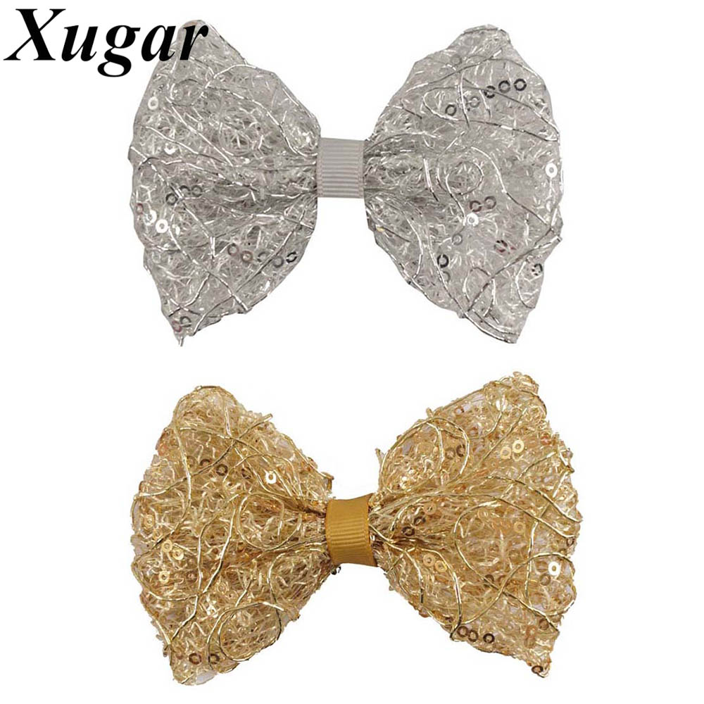2 Pieces/lot 4'' Boutique Handmade Silver Gold Sequin Hair Bow For Kid Girls Fashion Hair Clip Hair Accessories handmade new solid maple wood brown acoustic violin violino 4 4 electric violin case bow included