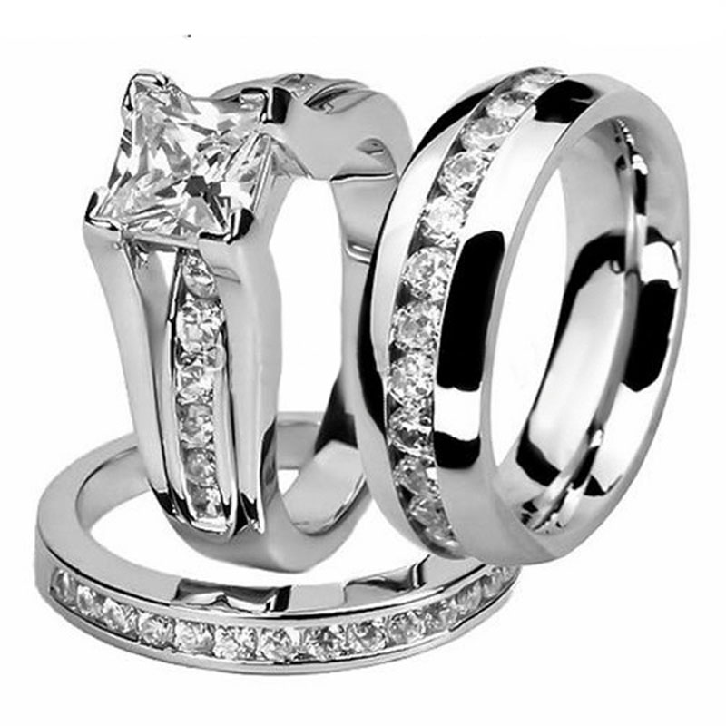 His and Hers Women Fashion Jewelry Princess Cut White Gold&Stainless Steel 5A White CZ Zirconia Wedding Band Men <font><b>Couple</b></font> <font><b>Ring</b></font> <font><b>Set</b></font> image
