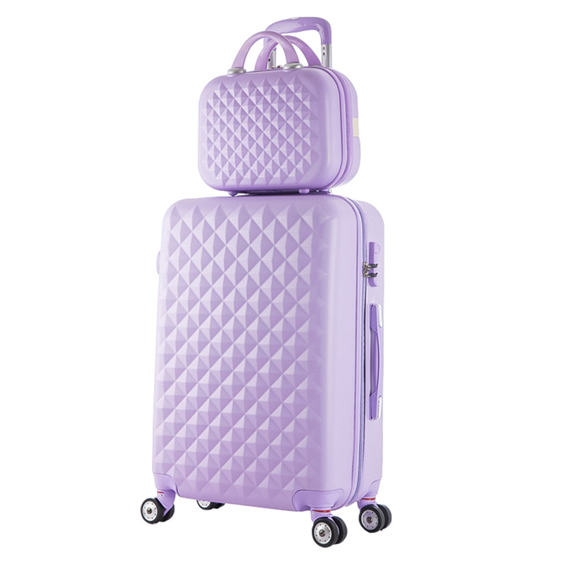 2018 New Hot sale Diamond lines Trolley suitcase set/travell case luggage/Pull Rod trunk rolling spinner wheels/ABS boarding bag