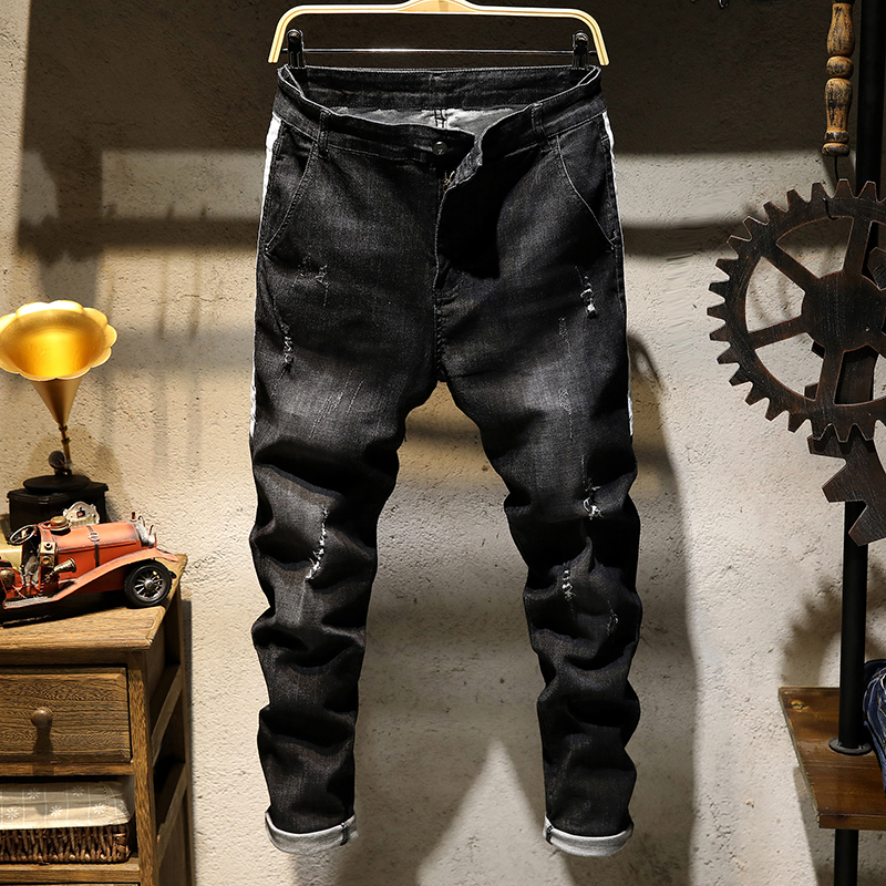 Mens Fashion Jeans Spring new stretch hole scratching jeans Little feet hip-hop jeans Sl ...