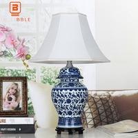 BLUBBLE Классическая керамика Китай подарок настольная лампа старый исследование ткани светодио дный ночники сине белые фарфор Спальня насто