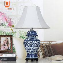 BLUBBLE Classical Ceramics China Gift Table Lamp Old Study Fabric LED Bedside Lamp Blue White Porcelain Bedroom Desk Lamp(China)