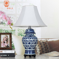 BLUBBLE Classical Ceramics China Gift Table Lamp Old Study Fabric LED Bedside Lamp Blue White Porcelain Bedroom Desk Lamp