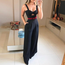 2019 New Fashion Summer Women Sexy Romper With Belted Cut Out Twist Front Ladies Wide Leg Jumpsuit