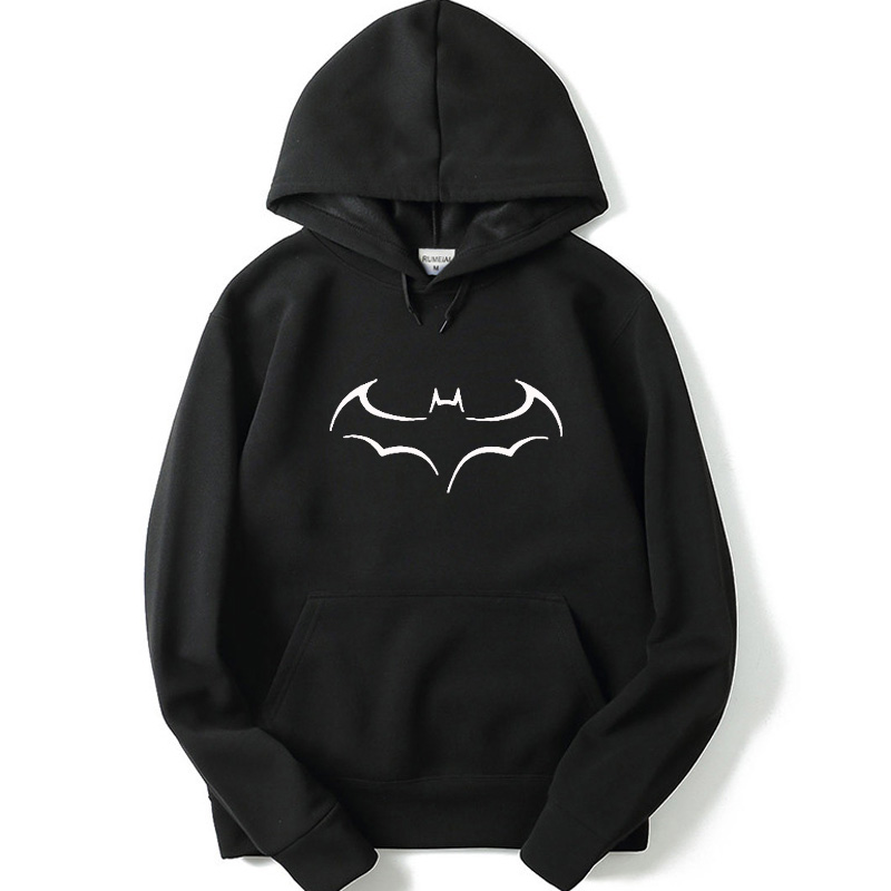 Men's fleece jacket velvet men's hoodie Batman print hooded