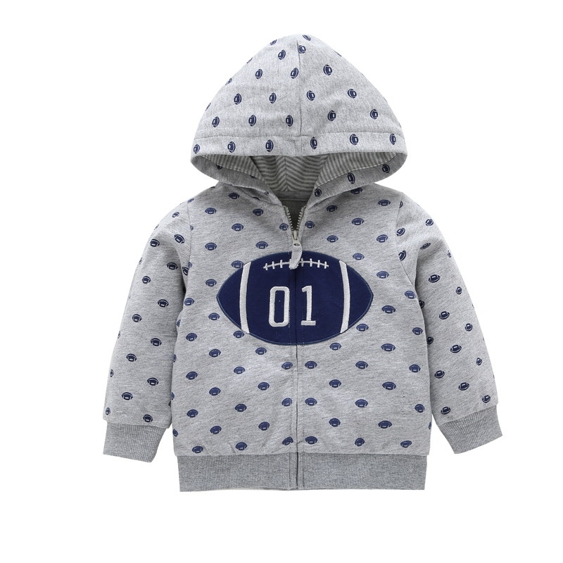 Newborn Baby Girl Clothes Long Sleeve Hoodies American Football Print Coat Gray Zipper Cotton Spring Autumn Sweatshirt Outfits